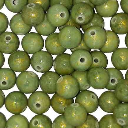 Margele sferice din portelan 7mm vernil cu auriu