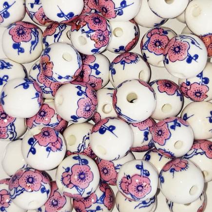 Margele sferice din portelan 8mm imprimeu flori lila