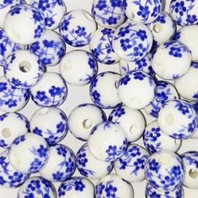 Margele sferice din portelan 8mm imprimeu flori mici albastre
