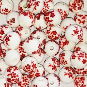 Margele sferice din portelan 8mm imprimeu flori mici rosii