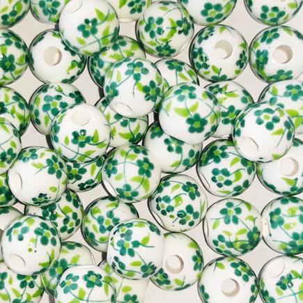 Margele sferice din portelan 8mm imprimeu flori mici verzi