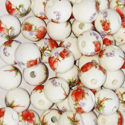 Margele sferice din portelan 8mm imprimeu flori rosii si mov