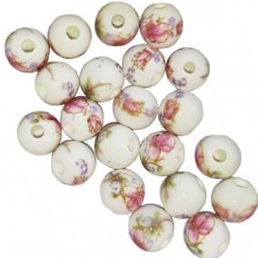 Margele sferice din portelan 8mm imprimeu flori roz