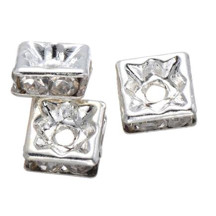Margele rhinestone patrate argintii cristal alb 10x4mm 10buc