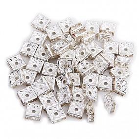 Margele rhinestone patrate argintii cristal alb 6x3mm 10buc