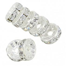 Margele rhinestone rotunde argintii cristal alb 10x4mm