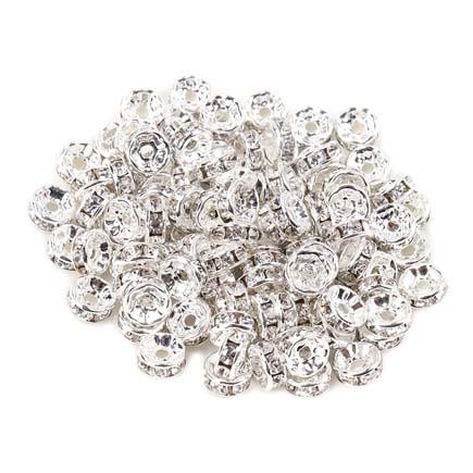 Margele rhinestone rotunde argintii cristal alb 4x2mm 10buc