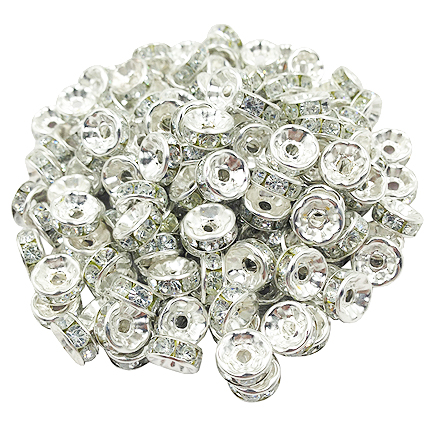 Margele rhinestone rotunde argintii cristal alb 6x3mm 10buc