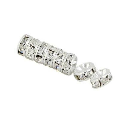 Margele rhinestone rotunde argintii cristal alb 8x4mm 10buc