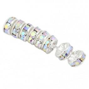 Margele rhinestone rotunde argintii cristal alb AB 6x3mm 10buc