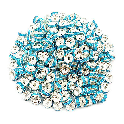 Margele rhinestone rotunde argintii cristal albastru azur 4x2mm 10buc