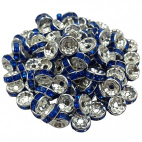 Margele rhinestone rotunde argintii cristal albastru regal 6x3mm 10buc