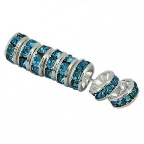 Margele rhinestone rotunde argintii cristal bleu cenusiu 6x3mm 10buc