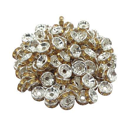 Margele rhinestone rotunde argintii cristal galben 4x2m 10buc