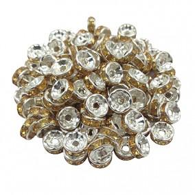 Margele rhinestone rotunde argintii cristal galben 6x3mm 10buc