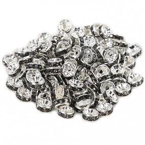 Margele rhinestone rotunde argintii cristal gri 6x3mm 10buc