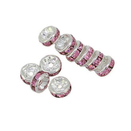 Margele rhinestone rotunde argintii cristal mov liliac 6x3mm 10buc