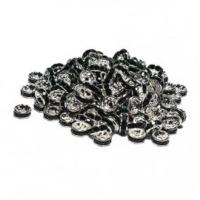 Margele rhinestone rotunde argintii cristal negru 4x2mm 10buc