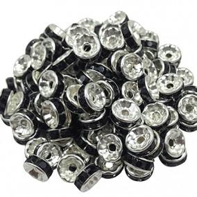 Margele rhinestone rotunde argintii cristal negru 6x3mm 10buc