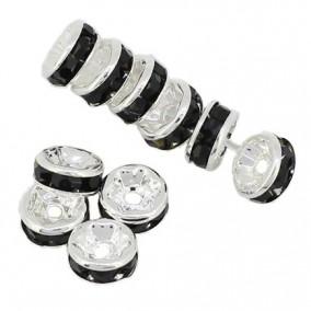Margele rhinestone rotunde argintii cristal negru 8x4mm 10buc
