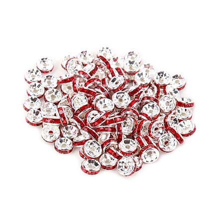 Margele rhinestone rotunde argintii cristal rosu 4x2mm 10buc