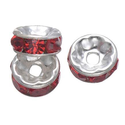 Margele rhinestone rotunde argintii cristal rosu rubin 10x4mm