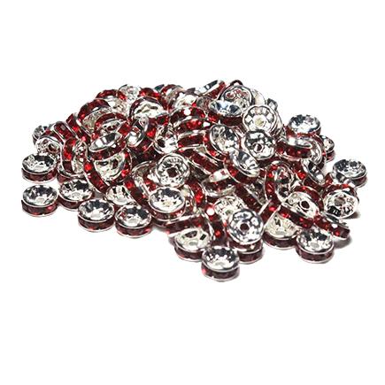 Margele rhinestone rotunde argintii cristal rosu rubin 6x3mm 10buc