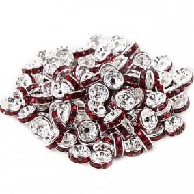 Margele rhinestone rotunde argintii cristal rosu rubin 8x4mm 10buc