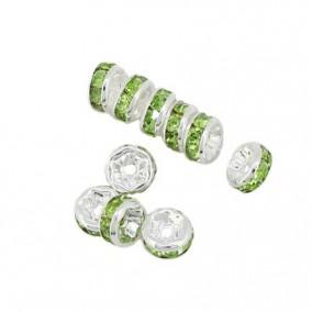 Margele rhinestone rotunde argintii cristal verde crud 4x2mm 10buc