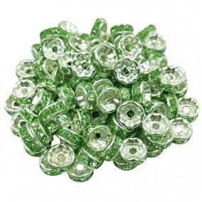 Margele rhinestone rotunde argintii cristal verde crud 6x3mm 10buc