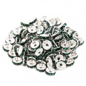 Margele rhinestone rotunde argintii cristal verde smarald 6x3mm 10buc