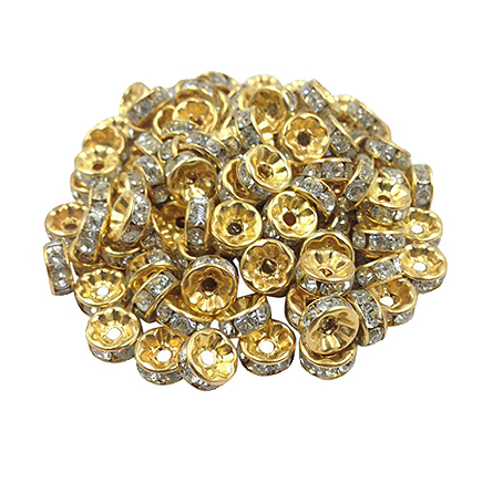 Margele rhinestone rotunde aurii cristal alb 4x2mm 10buc