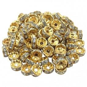 Margele rhinestone rotunde aurii cristal alb 6x3mm 10buc
