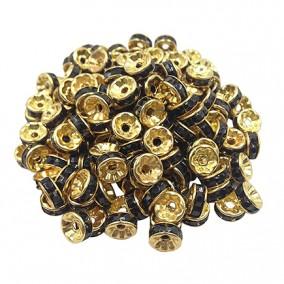 Margele rhinestone rotunde aurii cristal negru 6x3mm 10buc