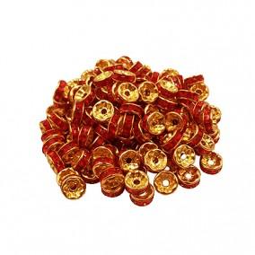 Margele rhinestone rotunde aurii cristal rosu 4x2mm 10buc