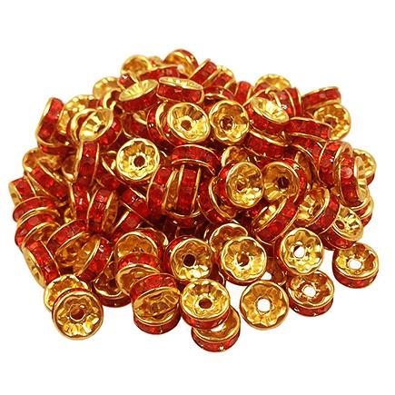 Margele rhinestone rotunde aurii cristal rosu 6x3mm 10buc