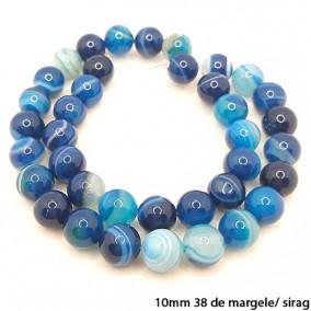 Agate cu dungi lucioase nefatetate albastre 10mm sirag 40 cm