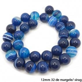 Agate cu dungi lucioase nefatetate albastre 12mm sirag 40 cm