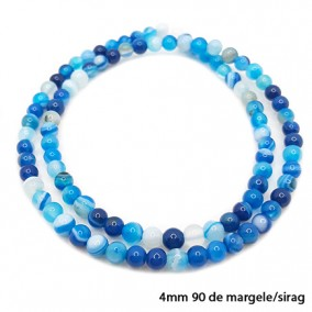 Agate cu dungi lucioase nefatetate albastre 4mm sirag 40 cm