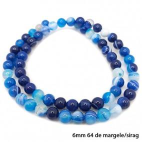 Agate cu dungi lucioase nefatetate albastre 6mm sirag 40 cm