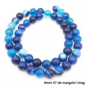 Agate cu dungi lucioase nefatetate albastre 8mm sirag 40 cm