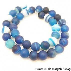 Agate cu dungi mate nefatetate albastre 10mm sirag 40 cm