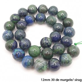 Azurit lucios nefatetat sferic 12mm margele sirag 40cm