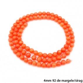 Margele coral portocaliu sferic nefatetat 4mm sirag 36cm