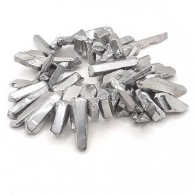 Cuart electroplacat argintiu metalizat piloni fatetati 25x8mm 10 margele