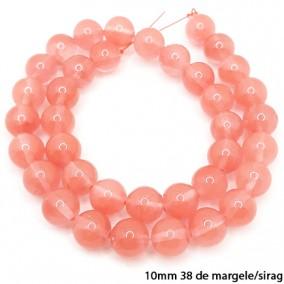 Cuart cherry lucios nefatetat sferic 10mm margele sirag 40cm