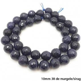 Goldstone albastru lucios fatetat sferic 10mm margele sirag 40cm