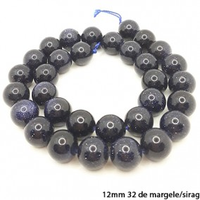 Goldstone albastru lucios nefatetat sferic 12mm margele sirag 40cm
