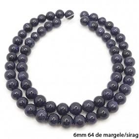 Goldstone albastru lucios nefatetat sferic 6mm margele sirag 40cm