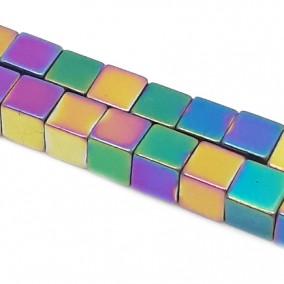 Hematite cubice curcubeu 6mm